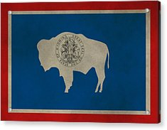 Aged Wyoming State Flag Acrylic Print by Dan Sproul