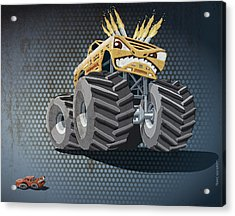 Aggressive Monster Truck Grunge Color Acrylic Print