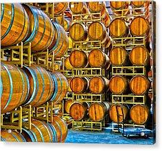 Aging Wine Barrels Acrylic Print by Richard J Cassato