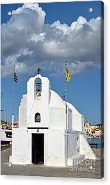 Agios Nikolaos Chapel In Aegina Port Acrylic Print by George Atsametakis