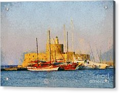 Agios Nikolaos Lighthouse Acrylic Print by George Atsametakis