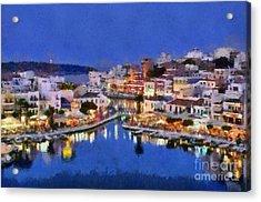 Painting Of Agios Nikolaos City Acrylic Print