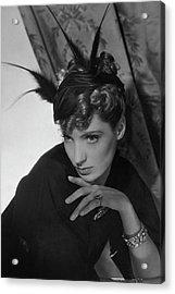 Agneta Fischer Wearing A Reboux Hat Acrylic Print by Horst P. Horst