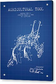 Agricultural Tool Patent From 1926 - Blueprint Acrylic Print by Aged Pixel