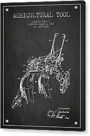 Agricultural Tool Patent From 1926 - Dark Acrylic Print by Aged Pixel
