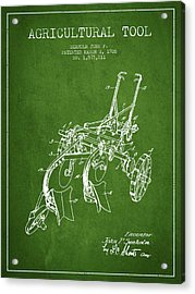 Agricultural Tool Patent From 1926 - Green Acrylic Print by Aged Pixel