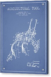 Agricultural Tool Patent From 1926 - Light Blue Acrylic Print by Aged Pixel