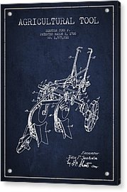 Agricultural Tool Patent From 1926 - Navy Blue Acrylic Print by Aged Pixel