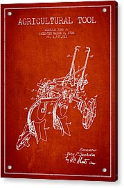 Agricultural Tool Patent From 1926 - Red Acrylic Print by Aged Pixel