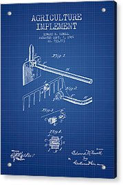 Agriculture Implement Patent From 1909 - Blueprint Acrylic Print by Aged Pixel