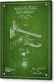Agriculture Implement Patent From 1909 - Green Acrylic Print