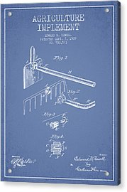 Agriculture Implement Patent From 1909 - Light Blue Acrylic Print