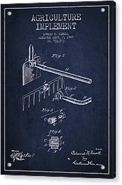 Agriculture Implement Patent From 1909 - Navy Blue Acrylic Print