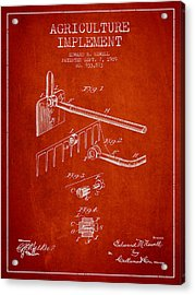 Agriculture Implement Patent From 1909 - Red Acrylic Print