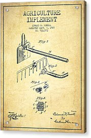 Agriculture Implement Patent From 1909 - Vintage Acrylic Print by Aged Pixel