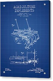 Agriculture Implements Patent From 1956 - Blueprint Acrylic Print