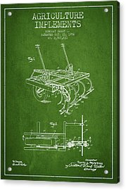 Agriculture Implements Patent From 1956 - Green Acrylic Print