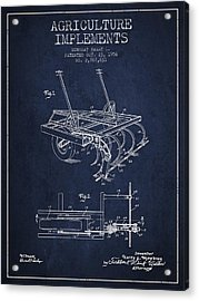 Agriculture Implements Patent From 1956 - Navy Blue Acrylic Print