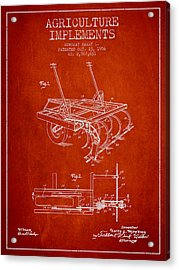 Agriculture Implements Patent From 1956 - Red Acrylic Print