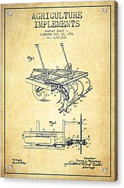 Agriculture Implements Patent From 1956 - Vintage Acrylic Print