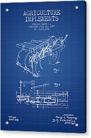 Agriculture Implements Patent From 1959 - Blueprint Acrylic Print