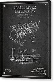 Agriculture Implements Patent From 1959 - Dark Acrylic Print