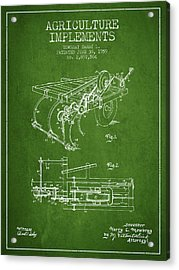 Agriculture Implements Patent From 1959 - Green Acrylic Print