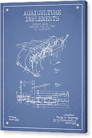 Agriculture Implements Patent From 1959 - Light Blue Acrylic Print