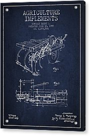 Agriculture Implements Patent From 1959 - Navy Blue Acrylic Print