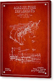 Agriculture Implements Patent From 1959 - Red Acrylic Print