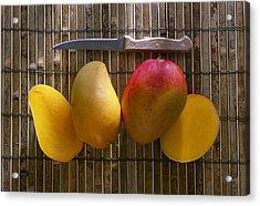 Agriculture - Sliced Sunrise Mango Acrylic Print by Daniel Hurst