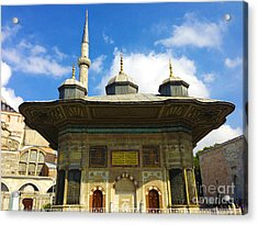 Ahmet II Fountain Next To Topkapi Palace Main Entry With A Minaret Of Hagia Sophia Palace Istanbul  Acrylic Print by Ralph A  Ledergerber-Photography