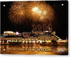 Acrylic Print featuring the photograph Aida Cruise Ship 2014 New Year's Day New Year's Eve by Paul Fearn