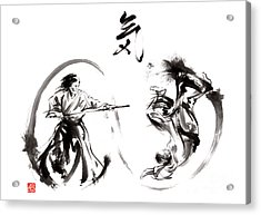 Aikido Federation Show Double Enso Fight Line Circle Painting Acrylic Print by Mariusz Szmerdt