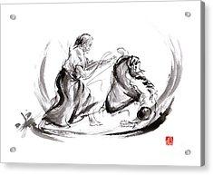 Aikido Fight Scenery Martial Arts Drawing Painting Sketch Art Draw Japan Japanese School Acrylic Print by Mariusz Szmerdt