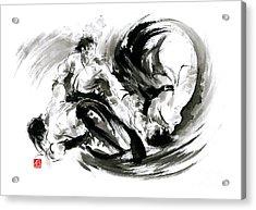 Aikido Randori Fight Popular Techniques Martial Arts Sumi-e Samurai Ink Painting Artwork Acrylic Print by Mariusz Szmerdt