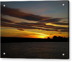 Air Brushed River Sunset Acrylic Print