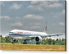 Acrylic Print featuring the photograph Air China 777 by Jeff Cook