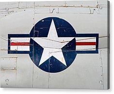 Air Force Logo On Vintage War Plane Acrylic Print
