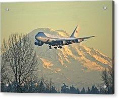 Air Force One And Mt Rainier Acrylic Print