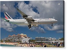 Air France Landing At St. Maarten Acrylic Print by David Gleeson