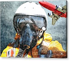 Air Pilot Acrylic Print by Liane Wright