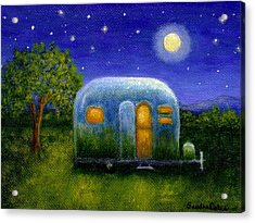 Airstream Camper Under The Stars Acrylic Print by Sandra Estes