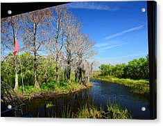 Airboat In Camp Acrylic Print by Ken  Collette