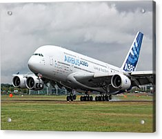 Airbus A380 Landing Acrylic Print by Shirley Mitchell