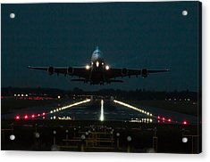 Airbus A380 Take-off At Dusk Acrylic Print