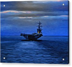 Aircraft Carrier Acrylic Print by Michael Pickett