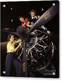 Aircraft Engine Installation 1942 Acrylic Print by Padre Art