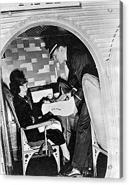 Airline Steward Serves Woman Acrylic Print by Underwood Archives