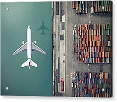 Airplane Flying Over Container Port Acrylic Print by Orbon Alija
